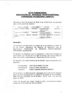 Acta Fundacional Comunidad Valenciana
