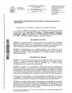 Resolución de inscripción Comunidad Valenciana